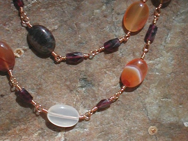 Carnelian and garnet wrapped necklace