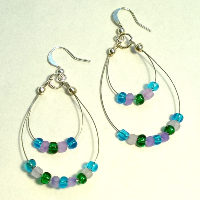 Beach Seed Double Hoop Earrings
