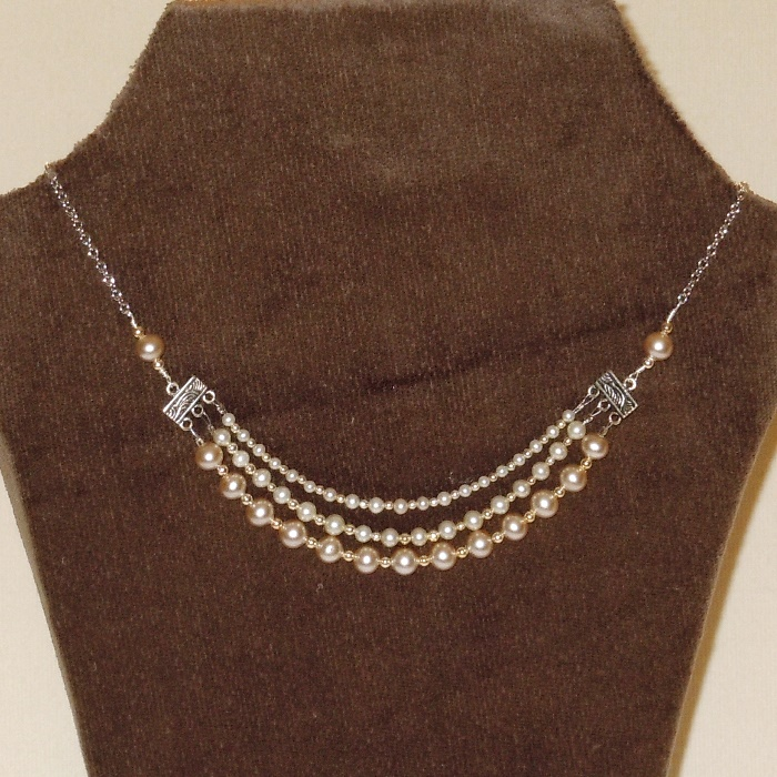 Vintage Pearl Triple Strand Necklace